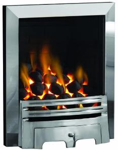 Inset gas fire. he gas fire, glass fronted gasfire