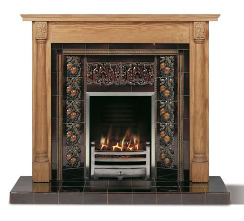 hand painted tiled fireplace