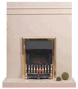 Slab limestone fireplace
