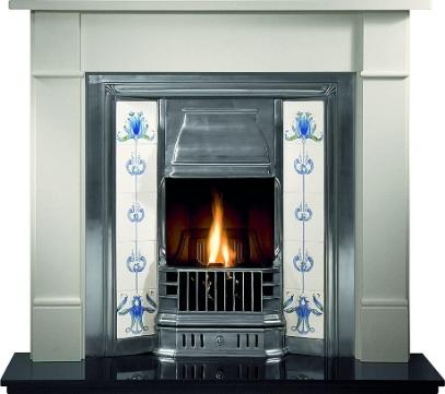 tiled cast fireplace